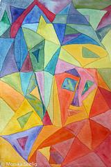 Lächelnder Stein (smiling rock) (Monika Seelig) Tags: 2017 monikaseelig art watercolor aquarelle ausstellung europe exibition coffeeartandcigarettes cafehegelhof kunst