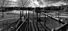 Playground by the lake (Pejasar) Tags: minshall park lake playground panorama blackandwhite