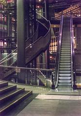 Treppen bei Nacht (mniesemann) Tags: ifttt 500px leipzig rolltreppe treppen nacht struktur geometrie architektur räume licht stahl steel stairs escalators pillar säule analog film kodak gold