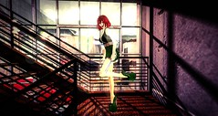 """""""Stairs are wonderful friends; they rise with us and they fall with us!"""" - M. M. Ildan (kimmyridley) Tags: soulsdelirium monso azoury maitreya furillen sexygirl secondlife stairs redhair makeup izzies bento shadows green"""