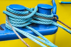 detail (alexhaeusler) Tags: yellow blue rope boat lake detail