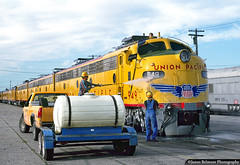 UP's Glamour Girls Get a Bath (jamesbelmont) Tags: train railroad uprr e9 streamliner slc wash utah