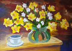 Daffodils (mainrobber) Tags: живопись painting artwork craftsman designer artist picture художник картина нарциссы daffodils натюрморт still life art искусство painter гуашь