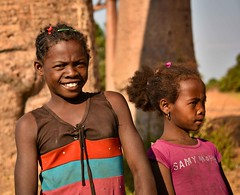 Girls and Baobabs (Rod Waddington) Tags: africa afrique madagascar malagasy girls children baobabs allee des two candid portrait outdoor