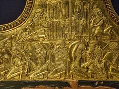 Closeup of gold relief in the interior of King Tutankamun's chariot 18th Dynasty New Kingdom Egypt 1332-1323 BCE (mharrsch) Tags: relief prisoner captive nubian chariot gold transportation pharaoh kingtutankhamun burial tomb funerary 18thdynasty newkingdom egypt 14thcenturybce ancient discoveryofkingtut exhibit newyork mharrsch premierexhibits