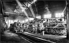 Baiyin Panorama (channel packet) Tags: china steam train locomotives sy railway railroad mono blackandwhite panoramic davidhill