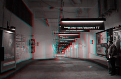New York, New York (DDDavid Hazan) Tags: ny newyork nyc newyorkcity night nightshot manhattan chelsea parking garage couple perspective anaglyph 3d bw blackandwhite bwanaglyph 3danglyph 3dstereophotography redcyan redcyan3d stereophotography stereo3d
