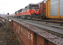 WX-1 Saturday Extra (GLC 392) Tags: worcester mass ma massachusetts providence pw ge b398e b237r super 7 seven bridge rain extra wx1 railroad rail way railway train auto rack 3903 2216 cambridge st street