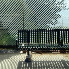 Between the Lines (melystu) Tags: bench busstop emeryville bayshore lines patterns sun shade shelter diagonal vertical hbm seat wait shadow