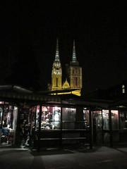 Shop windows and cathedral spires, night on Opatovina ulica, Kaptol, Zagreb, Croatia (Paul McClure DC) Tags: zagreb croatia hrvatska balkans feb2017 shopwindow cathedral architecture historic
