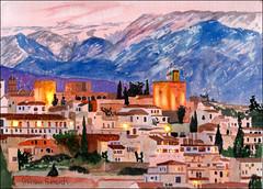 Granada 3 (Dr Graham Beards) Tags: granada spain alhambra andalucia watercolor watercolour
