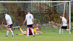 Josh Lumsden smothers the ball at the feet of the striker (Stevie Doogan) Tags: clydebank cumbernauld utd mcbookiecom west scotland league superleague first division holm park saturday 15th april 2017 bankies scottish juniors