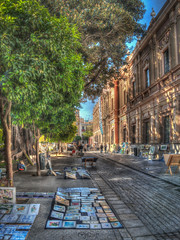 Arte a las puertas del Museo. (Capuchinox) Tags: paint nik andalucia seville sevilla art arte pintura museum olympus hdr museo