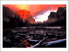 postcard - Yosemite 38 (Jassy-50) Tags: postcard yosemitenationalpark yosemite nationalpark park unescoworldheritagesite unescoworldheritage unesco worldheritagesite worldheritage whs mercedriver river mountain sunrise sunset