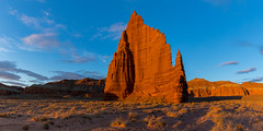 Temple of the Moon (Amar Raavi) Tags: templeofthemoon capitolreef cathedralvalley nationalpark moon dawn sunrise firstlight sunlight sandstone entrada rockformations geology erosion desert outdoors panorama landscape morning light red illuminated remote usa northamerica utah unitedstates