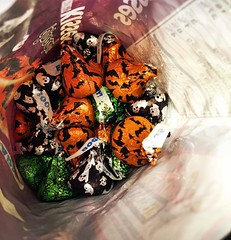 Found this belated Halloween stash in the fridge 😁 (Scorpions and Centaurs) Tags: instagramapp square squareformat iphoneography uploaded:by=instagram lofi kisses belatedhalloween candy sweet chocolate bagfullofcandy hersheys latenightsnack americancandy halloween