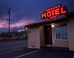 Resting Under Neon (RZ68) Tags: tamalpais motel marin county california northern neon sign old vintage red orange road street light trails long exposure rz67 velvia provia e100 night evening blue hour sunset color clouds cabin room valley tiburon mill