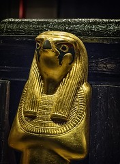 Closeup of gold figurine of the falcon-headed god Haroeris New Kingdom 18th Dynasty 1332-1323 BCE (mharrsch) Tags: figure figurine sculpture statue god deity haroeris tutankhamun burial tomb funerary 18thdynasty newkingdom egypt 14thcenturybce ancient discoveryofkingtut exhibit newyork mharrsch premierexhibits gold religiion worship