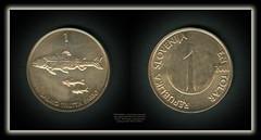 5789 Medallions - coins Obverse Value within circle Lettering: REPUBLIKA SLOVENIJA EN TOLAR 1 2000 Reverse Three brown trouts Lettering: SALMO TRUTTA FARIO 1 (Morton1905) Tags: 5789 medallions coins obverse value within circle lettering republika slovenija en tolar 1 2000 reverse three brown trouts salmo trutta fario