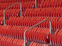 Rows and Rails (mikecogh) Tags: closed empty rows seats repetition rails olympicpark grandstand skodastadium