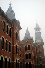 (a b franzen) Tags: school fog architecture university cellphone baylor oldmain bayloruniversity flickrandroidapp:filter=none