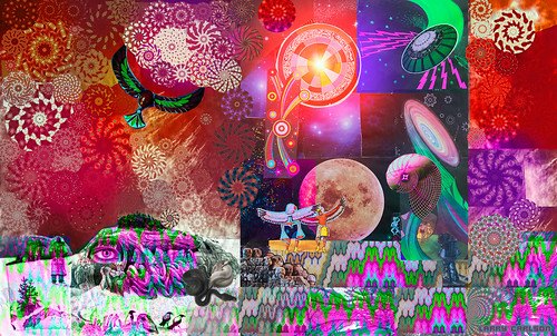LARRY CARLSON Star Hawk Universal  digital pigment print on metallic paper, ed. of 25, 24 x 50in., 2013.