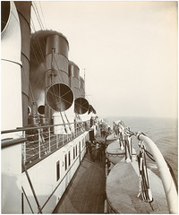 [First class promenade on the boat deck] (SMU Central University Libraries) Tags: ships decks u20 lusitania lifeboats promenades cunardline oceanliners cunardship rmslusitania
