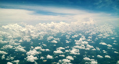 Cotton Over McComb (J_Ensley) Tags: new blue sky storm clouds airplane flying orleans air flight panoramic aerial ms nola cottonballs scattered mccomb