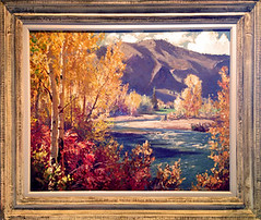 Fremont Ellis- Autumn by the River- Matthews Gallery (Matthews Gallery) Tags: mountain mountains newmexico santafe southwest tree art painting landscape artwork artist gallery historic galleries painter tress colony artworks abiquiu southwestern colonies ghostranch landofenchantment haroldwest matthewsgallery okeeffecountry emilbisttram fremontellis transcendentalpaintinggroup alfredmorang