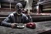 Phone a friend (Kriegaffe 9) Tags: abandoned court fun phone mask decay clown creepy spooky ue urbex courtroom