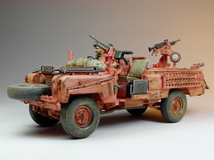 70s Memories Project  Tamiya  1/35 S.A.S Land Rover Pink Panther  Built in 2002  Photos Retaken 2 (My Toy Museum) Tags: pink project military rover plastic memory land 70s kit 135 tamiya panther