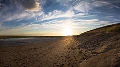 0740_pano_web_1080 (L Hinton) Tags: sunset sky panorama beach clouds landscape coast seaside sand walk horizon footprints lancashire lytham romantic footsteps fairhaven stroll coastalway