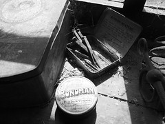 Nails and dust , Tyneham Village (Hammerhead27) Tags: old uk light shadow blackandwhite history rural dark tin mono rust farm ghost tourist nails forgotten dorset dust purbeck relic frozenintime tynehamvillage tynehamtanks