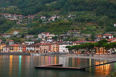 evening colours ((:Andrzej:) - very little time -sorry) Tags: houses light italy lake reflection water evening pier lamps colourful dolcevita comolake jezioro wieczr domaso kolorowe pomost domy odbicia
