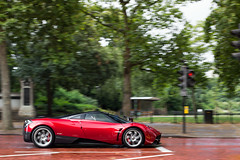 Pearly Red. (Alex Penfold) Tags: red london cars alex car mall profile super panning supercars pagani penfold 2013 huayra