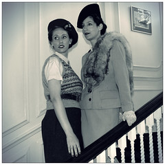 Sisters on the Stairs (madjacko) Tags: stairs vintage salute chatham 1940s forties 40s