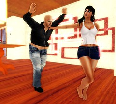 The Butterfly Effect, Chapter 1, Page 20 (Gang Wars) Tags: blue woman man black feet girl hoodie oliver apartment legs boobs bare bald mini skirt jeans secondlife latina brunette martina