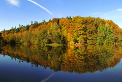 Autumn Afternoon at the Lake (Batikart) Tags: travel blue autumn trees red sky orange plants lake color colour reflection green rot fall water colors leaves yellow clouds forest canon germany landscape geotagged deutschland freedom see leaf pond wasser europa europe colours peace stitch herbst natur himmel tranquility sunny foliage gelb greenery recreation grün blau relaxation ursula blatt landschaft wald bäume spiegelung indiansummer reise sander stausee badenwürttemberg göppingen herbstfärbung 100faves 2013 200faves adelberg viewonblack 300faves klosteranlage herbstfarbe batikart herrenbachstausee herrenbachtal canonpowershotg11 autumncolouring