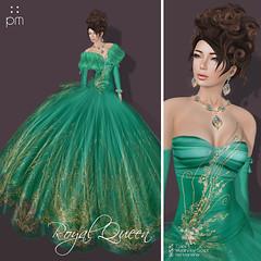 Royal Queen Emerald Poster (http://www.purplemoonsl.com) Tags: fashion dress princess formal royal queen sl secondlife ballroom gown satin pm purplemoon pouletkoenkamp
