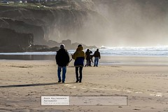 Winter Walk (doublejeopardy) Tags: winter sea woman man beach walking sand cornwall wave perranporth spume