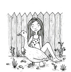 girl and a goose (Crystal Nine) Tags: summer cute bird art girl animals illustration hair graphics village country goose hugs