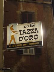Caffe Tazza D'Oro (the justified sinner) Tags: old italy rome roma coffee sign shop cafe md italian italia minolta 14 panasonic 50 caffe doro rokkor gh2 justifiedsinner