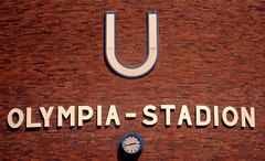 U-Bahn Station (only lines) Tags: park berlin brick clock station sign wall germany u ubahn olympic olympiastadion