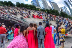 quinceaera. (alyssaBLACK.) Tags: city girls people urban chicago color colour reflection colors architecture canon buildings reflections illinois colorful colours fiesta teenagers teenager hdr quince latinamericans quincesnera