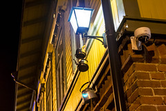 Something Old, Something New (k009034) Tags: camera old travel windows light building brick coffee beautiful wall night corner canon finland photography eos 350d wooden pipe pot nighttime lantern rebelxt jyväskylä surveilance beautifulearth