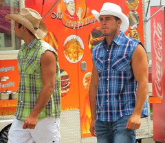 (ManontheStreet2day) Tags: man male hat cowboy hunk crotch jeans tanktop flannel bluejeans biceps stud wifebeater bulge