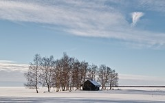 An islet. (RaijaV2010) Tags: winter sky clouds islet trees sea cottage hailuoto finland