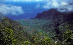 Kalalau Valley (woodchuckiam) Tags: kalalauvalley kauai hawaii kōkeʻestatepark napalicoast pacificocean valley mountains ocean clouds vegetation trees color tropicallandscape scenic landscape woodchuckiam