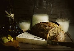 Supper Time (Clare-White) Tags: food milk meal jug bread grapes glass cheese knife brown f64g81r3win f64 winner mpt543 matchpointwinner stilllife light old indoors white