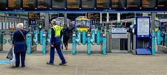 """Is It That One?"" (whosoever2) Tags: edinburgh waverley station scotland uk gb greatbritain unitedkingdom train railway railroad passenger traveller class170 barrier sony dsc rx100m3"